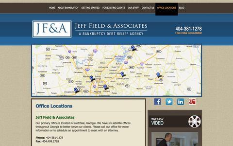 Screenshot of Maps & Directions Page fieldlawoffice.com - Jeff Field & Associates Office Locations | Jeff Field & Associates - captured Oct. 1, 2014