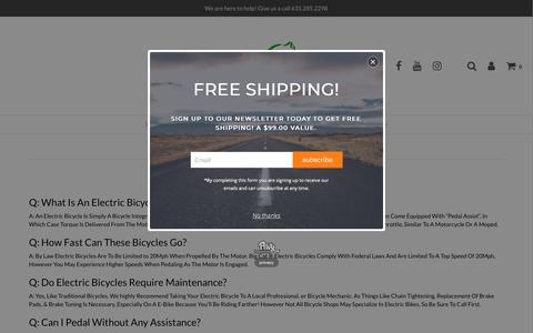 Screenshot of FAQ Page bigcatbikes.com - FAQ – Big Cat Electric Bikes - captured July 9, 2018