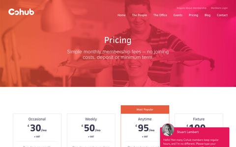 Screenshot of Pricing Page cohub.co.uk - Cohub - A coworking space in Eastbourne, East Sussex. - captured Sept. 28, 2018