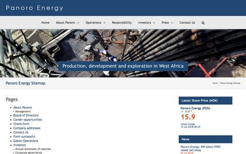 Screenshot of Site Map Page panoroenergy.com - Panoro Energy Sitemap | Panoro Energy - captured July 15, 2018