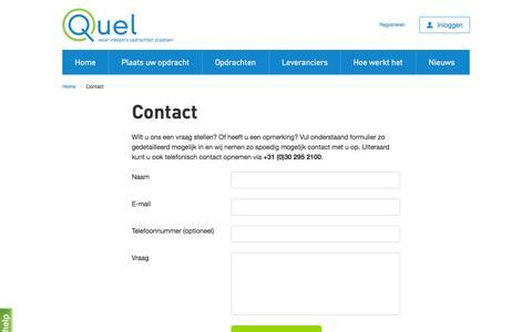 Screenshot of Contact Page quel.nl - Contact - Quel.nl - captured Nov. 2, 2014