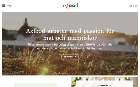 Screenshot of Home Page axfood.se - Axfood arbetar med passion för mat och människor - Axfood - captured March 2, 2018