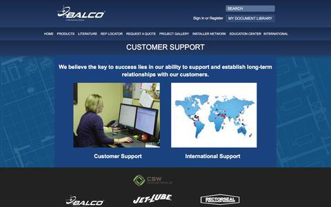 Screenshot of Support Page balcousa.com - Customer Support - Balco - captured Oct. 23, 2017