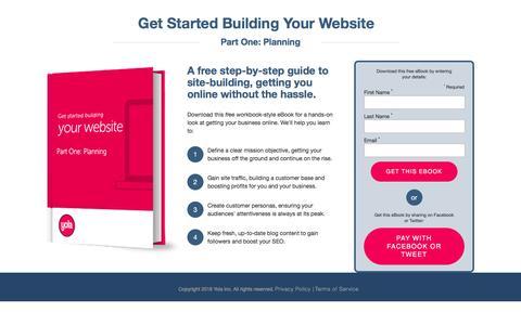 Screenshot of Landing Page yola.com - Get Started Building Your Website. Part One: Planning   Yola.com - captured Aug. 19, 2016