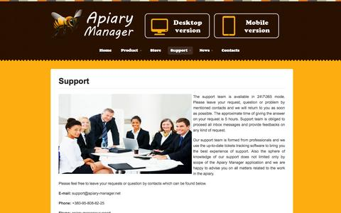 Screenshot of Support Page apiary-manager.net - Support | Apiary Manager - Software for Apiary's Automation - captured Sept. 30, 2014
