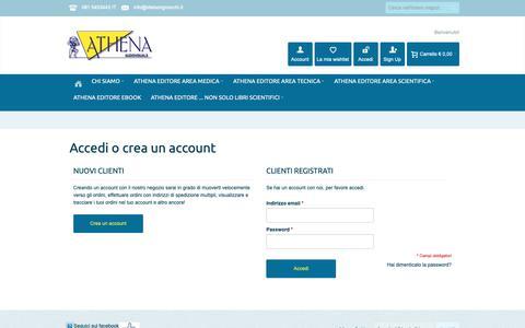 Screenshot of Login Page athenamedica.com - Accesso Cliente - captured Oct. 4, 2018