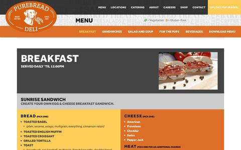 Screenshot of Menu Page purebread.com - Menu - Purebread Deli - captured Sept. 30, 2018