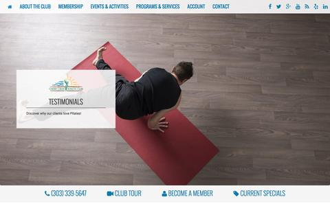 Screenshot of Testimonials Page cherrycreekclub.com - Testimonials - Pilates Defined Studio at Cherry Creek Athletic Club - captured April 22, 2016