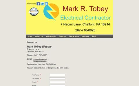 Screenshot of Contact Page mrtelectric.com - Electric, Mark Tobey Electric Chalfont, PA Contact Us - captured Oct. 1, 2014
