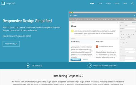 Screenshot of Home Page respondcms.com - Respond - Home - captured Jan. 21, 2016