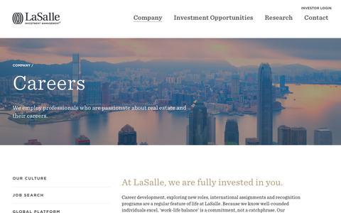 Screenshot of Jobs Page lasalle.com - Careers | LaSalle Investment Management - captured June 15, 2018