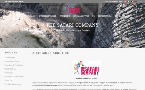 Screenshot of About Page thesafaricoltd.com - About Us - The Safari Company - captured Oct. 18, 2018