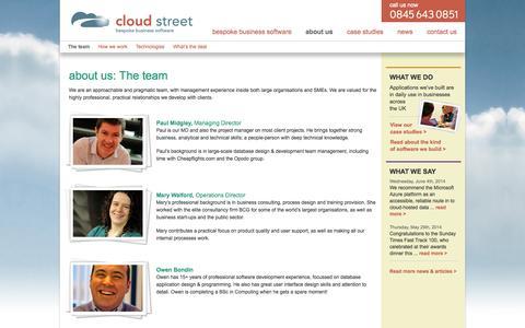 Screenshot of Team Page cloudstreet.co.uk - The team | cloud street - captured Oct. 2, 2014