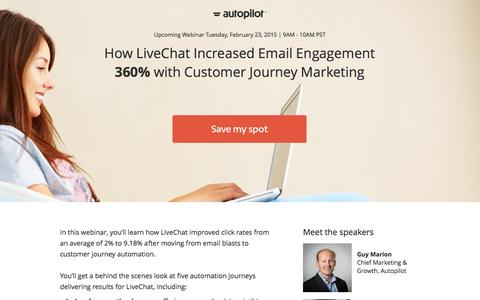 Screenshot of Landing Page autopilothq.com - How LiveChat Increase Email Engagement 360% Webinar  | Autopilot - captured Feb. 10, 2016