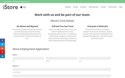 Screenshot of Jobs Page istoregreenville.com - Careers | iStore Greenville - captured Oct. 16, 2017