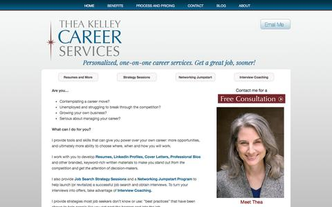 Screenshot of Home Page theakelley.com - Thea Kelley Career Services - Interview Coaching, Resumes, Job Search - captured Oct. 9, 2014
