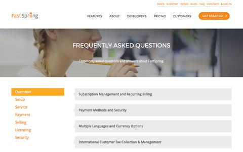 Screenshot of FAQ Page fastspring.com - Frequently Asked Questions About Global e-Commerce Platform | FastSpring - captured March 4, 2017