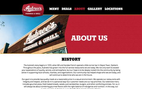 Screenshot of About Page aubrees.com - About | Aubree's Pizzeria and Grill - captured Feb. 6, 2016