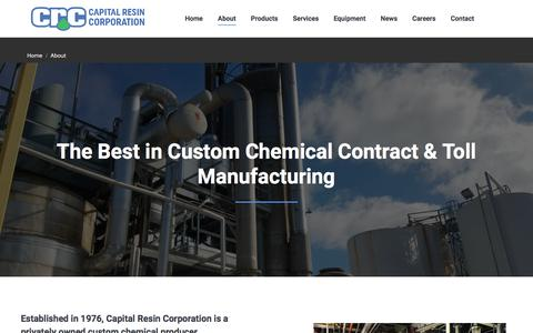 Screenshot of About Page capitalresin.com - About Capital Resin - Chemical Toll Manufacturing Company in Columbus, Ohio - captured July 13, 2017