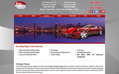 Screenshot of Services Page friscoautobody.com - Frisco Auto Body & Paint | Services | Auto Body & Paint Repairs - captured Nov. 25, 2016
