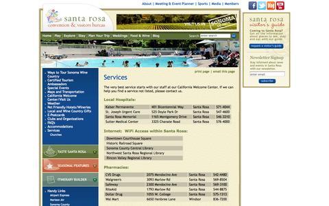 Screenshot of Services Page visitsantarosa.com - Services : Santa Rosa Convention and Visitors Bureau - captured Oct. 4, 2014