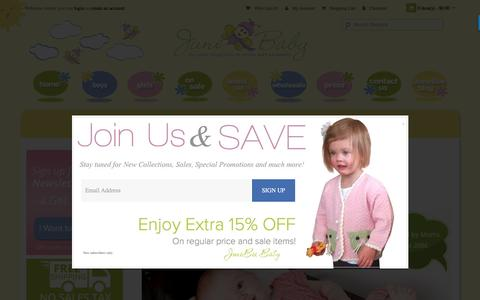 Screenshot of Home Page junebeebaby.com - cotton bamboo baby clothes - captured Nov. 27, 2016