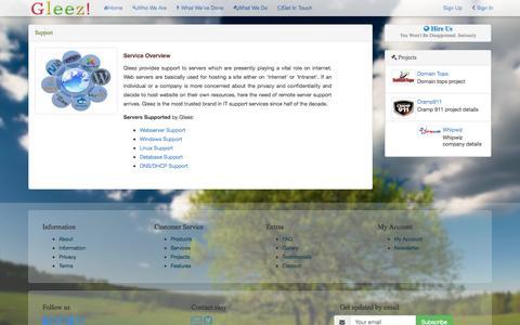 Screenshot of Support Page gleeztech.com - Support :: Gleez Technologies - captured Oct. 2, 2014