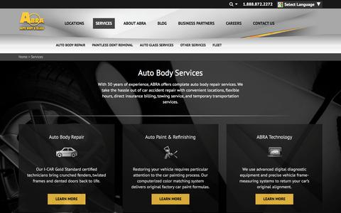 Screenshot of Services Page abraauto.com - Auto Body, Auto Glass, Windshield, Paintless Dent Repair Services | ABRA Auto Body & Glass - captured March 8, 2017