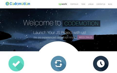 Screenshot of Home Page codemotion.ninja - Codemotion - NodeJS, AngularJS, Meteor, Javascript outsourcing Ukraine - captured May 5, 2017