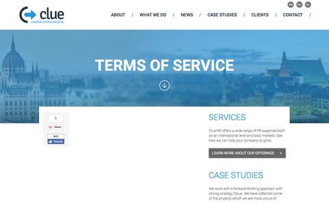 Screenshot of Terms Page cluepr.pl - Terms of service - CluePR - captured Nov. 7, 2016
