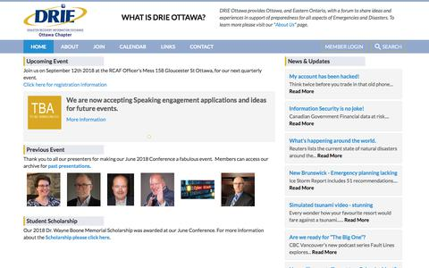 Screenshot of Home Page drieottawa.org - Home - Disaster Recovery Information Exchange - Ottawa - captured Aug. 5, 2018