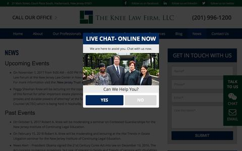 Screenshot of Press Page kneelaw.com - News, Articles & Events at the Knee Law Firm - captured Oct. 22, 2017