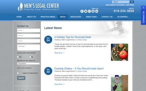 Screenshot of Blog Press Page menslegal.com - San Diego Family Law Blog - Divorce Attorneys - Men's Legal Center - captured Nov. 28, 2016