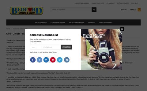 Screenshot of Testimonials Page bedfords.com - Customer Testimonials - captured Feb. 7, 2016