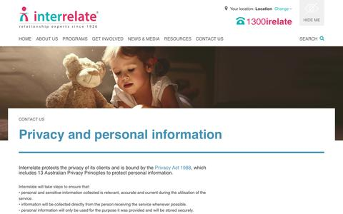 Screenshot of Privacy Page interrelate.org.au - Contact Interrelate - Interrelate - captured Oct. 12, 2018
