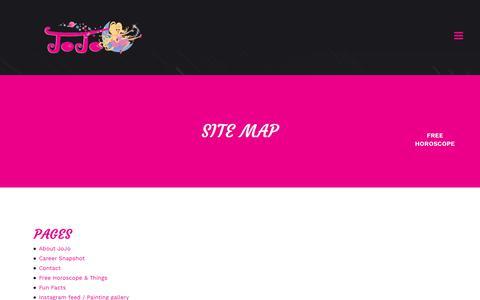 Screenshot of Site Map Page jojosavard.com - JoJo Savard |   Site Map - captured Nov. 1, 2018