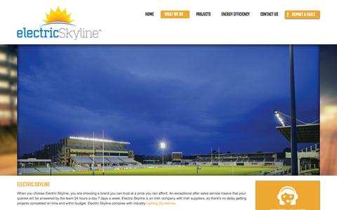 Screenshot of Services Page electricskyline.ie - What We Do - captured Oct. 2, 2014
