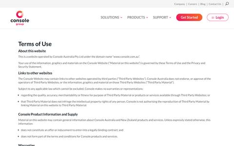 Screenshot of Terms Page console.com.au - Terms of Use | Console - captured April 11, 2017
