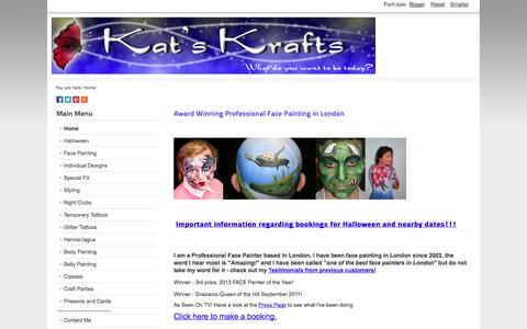 Screenshot of Home Page kat-kraft.co.uk - Award Winning Professional Face Painting in London - captured Oct. 6, 2014