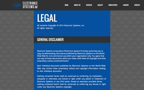 Screenshot of Terms Page electronicsi.com - Legal « Electronic Systems, Inc. Electronic Systems, Inc. - captured Nov. 1, 2014