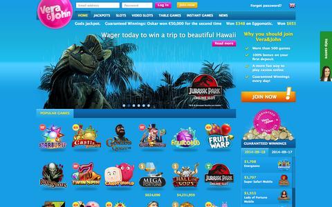 Screenshot of Home Page verajohn.com - Play casino online at Vera&John - An online casino | Vera&John - captured Sept. 18, 2014