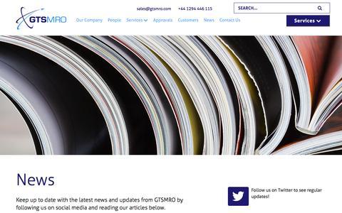 Screenshot of Press Page gtsmro.com - News   GTS MRO - captured Oct. 27, 2016