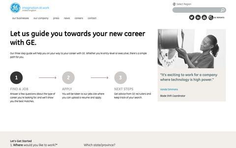 Screenshot of Jobs Page ge.com - Career Guide | GE.com UK - captured May 10, 2019