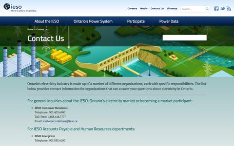 Screenshot of Contact Page ieso.ca - IESO                                       Contact Us - captured Oct. 6, 2014