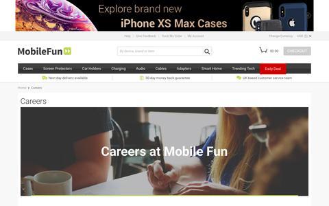 Screenshot of Jobs Page mobilefun.co.uk - Careers - captured Sept. 21, 2018