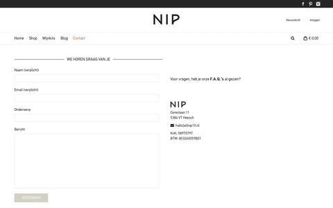 Screenshot of Contact Page nip10.nl - NIP - De kleinste wijncursus in een doosje - captured Oct. 26, 2014