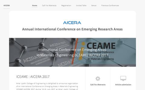 Screenshot of Home Page aicera.in - AICERA by Amal Jyothi College of Engineering - captured March 2, 2018