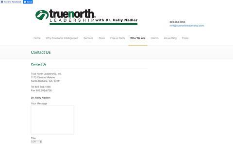 Screenshot of Contact Page truenorthleadership.com - Contact Us - True North Leadership, Inc. - captured Nov. 14, 2017