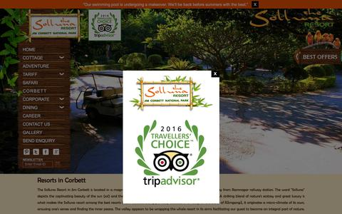 Screenshot of Home Page sollunaresort.com - Jim Corbett Resorts- 5 Star Luxury Resorts in Corbett - captured Feb. 15, 2016