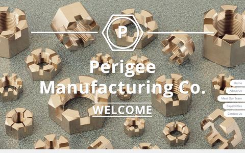 Screenshot of Home Page perigeemfg.com - Perigee Manufacturing Co, Inc. - Manufacturers of hexagon nuts, milled from bar. - captured Jan. 23, 2015